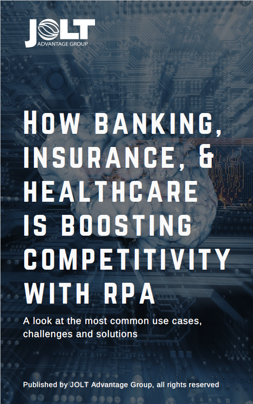 RPA in banking, insurance, and healthcare white paper cover